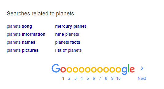 Google's related search terms