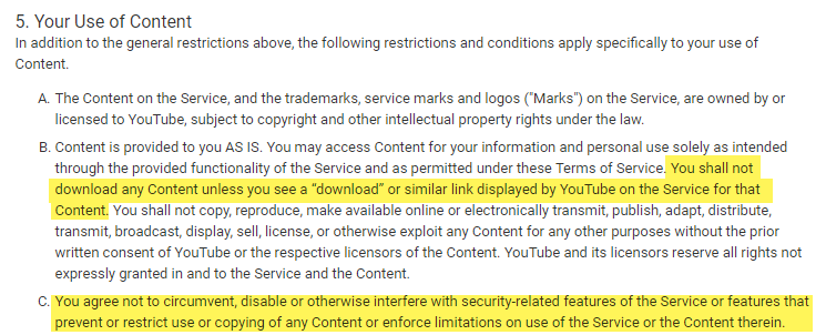 Section 5 of YouTube's Terms of Service