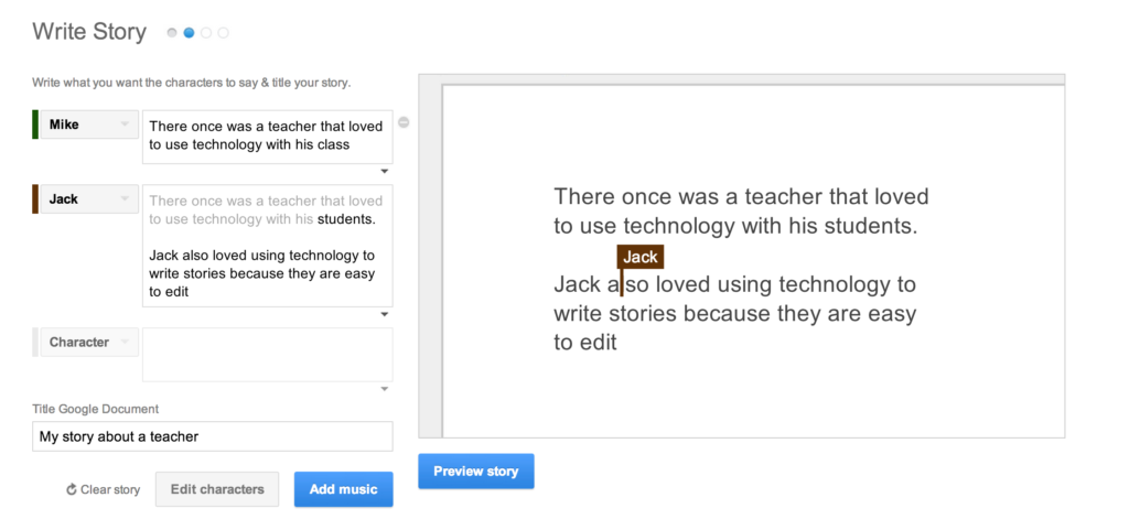 Google Story Builder Character entries
