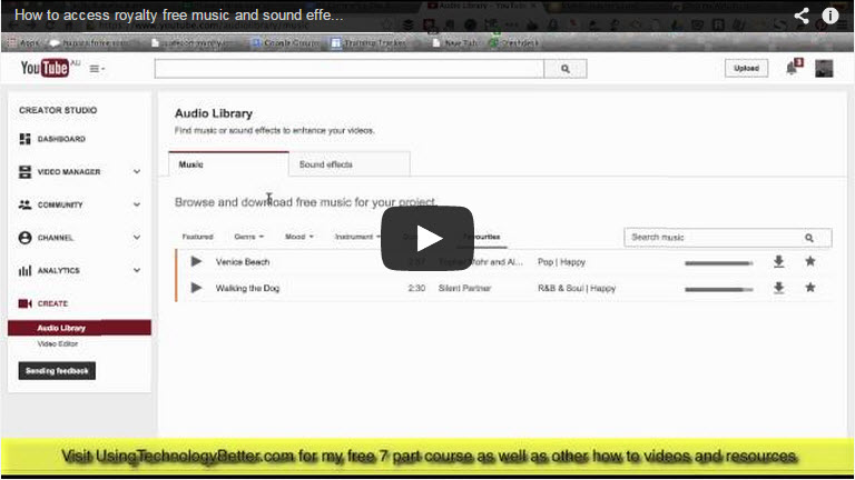 How to access Royalty Free music and sound effects in YouTube