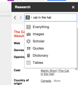 Inserting an image using the research tool in Google Docs