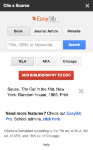 Cite Resources in a Google Doc : EasyBib Bibliography creator