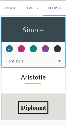 New Google Sites Themes