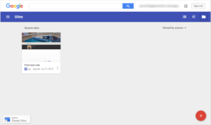 New Look Google Sites Landing Page