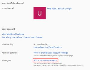 Channel settings with Add or remove managers link highlighted