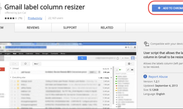 How to resize the label column in Gmail