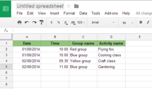 Table in Google Sheets