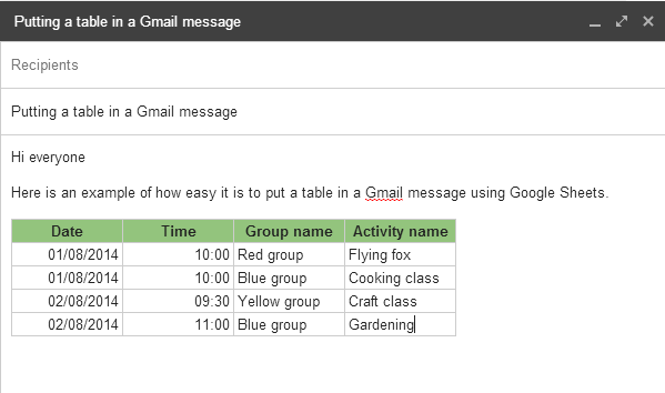 Add a table to a Gmail message