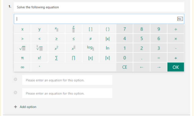 Insert maths equations into Microsoft Forms