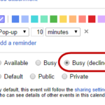 Automatically decline Google Calendar invitations during specific times