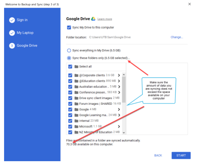 Getting started with Google Drive Backup and Sync - Using