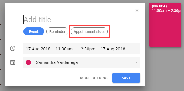 Appointment slots button