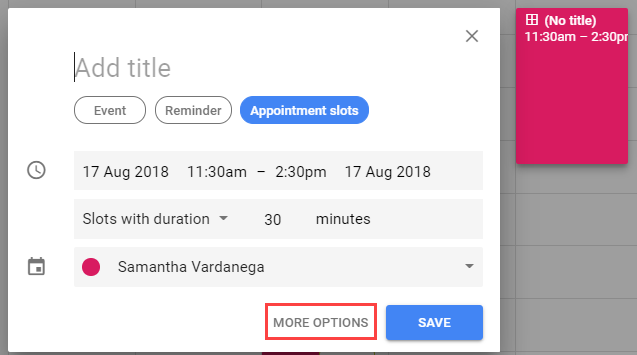 Appointment slots more options button