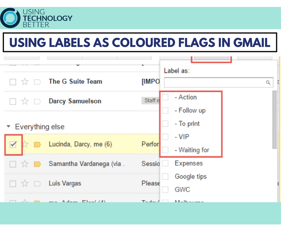 Using labels as coloured flags in Gmail