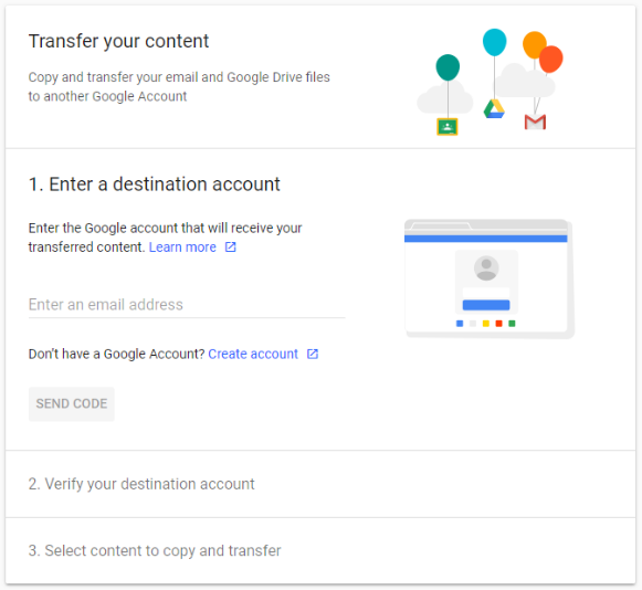 enter the email address of the google account you want to copy the data to