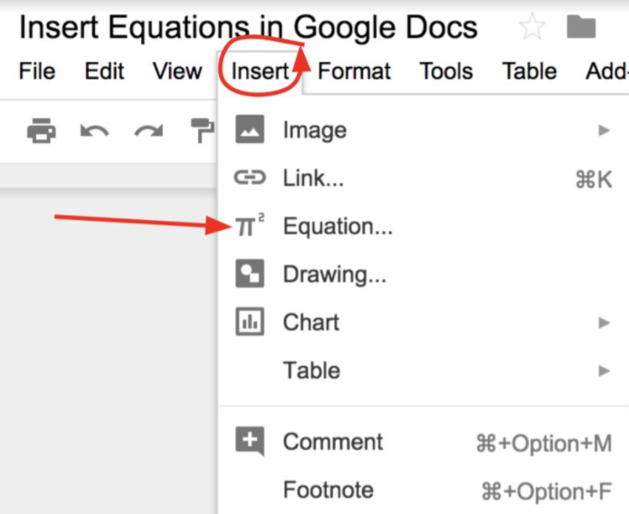 Insert Equations in Google Docs